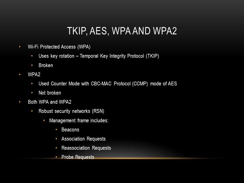 TKIP, AES, WPA and WPA2 Wi-Fi Protected Access (WPA)