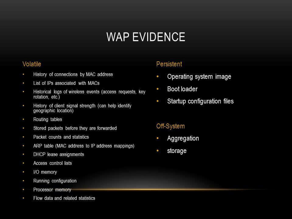 Wap evidence Volatile Persistent Operating system image Boot loader