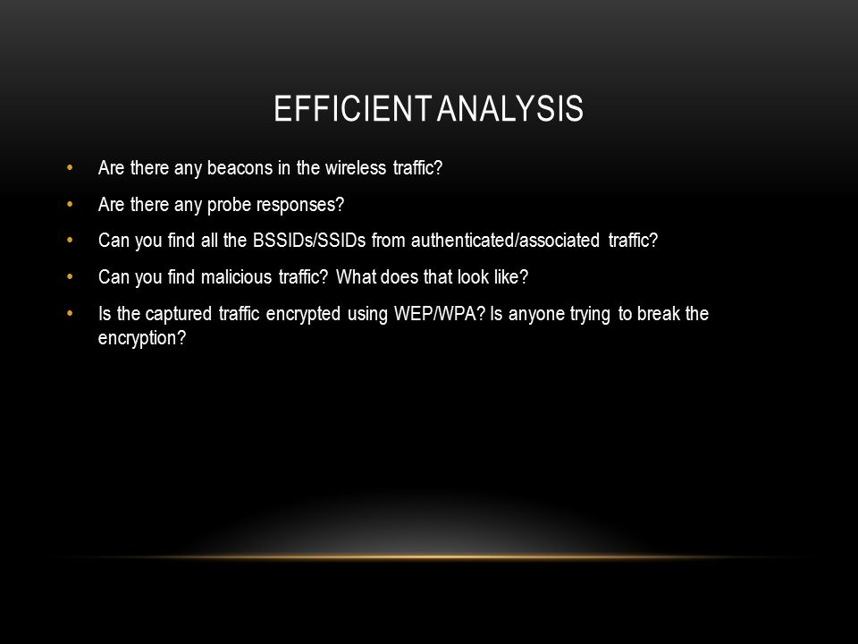 Efficient analysis Are there any beacons in the wireless traffic