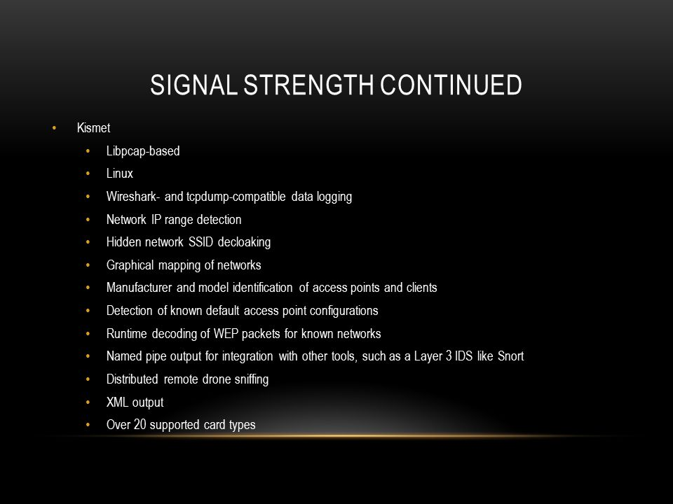 Signal strength continued