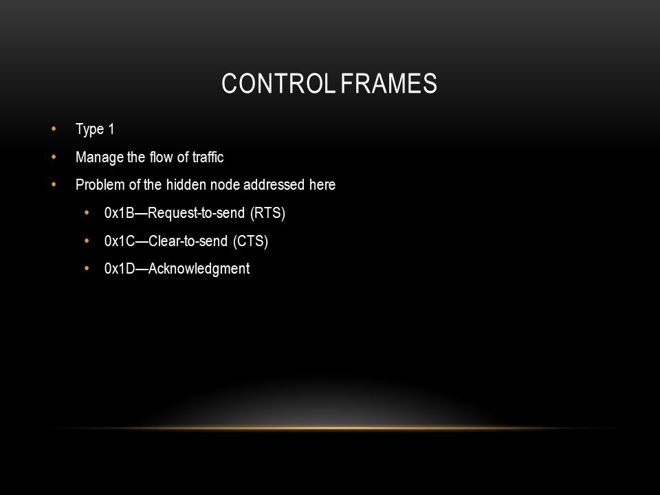 Control frames Type 1 Manage the flow of traffic