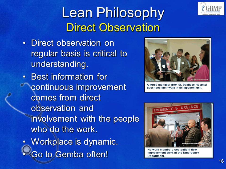 Lean Philosophy Direct Observation