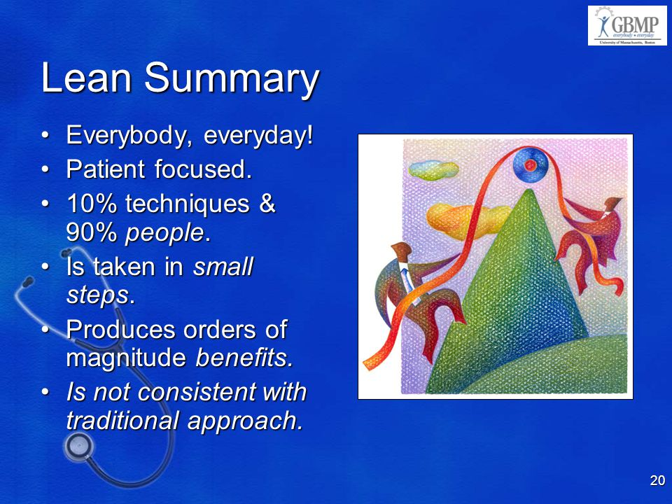 Lean Summary Everybody, everyday! Patient focused.