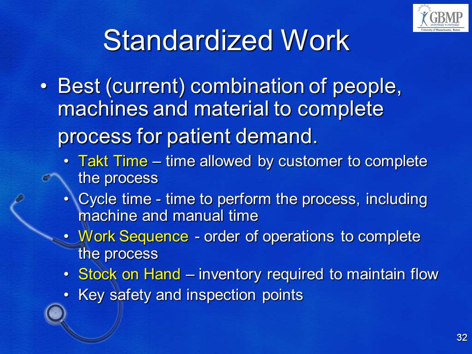 Standardized Work 4/10/2017 9:16 PM. Best (current) combination of people, machines and material to complete process for patient demand.