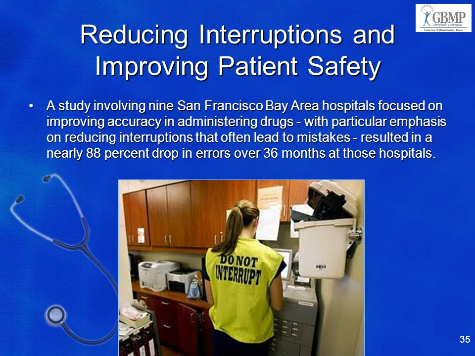 Reducing Interruptions and Improving Patient Safety