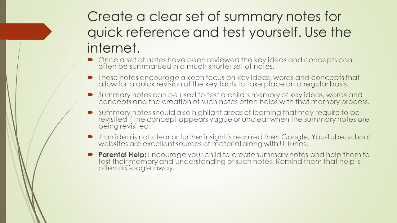 Create a clear set of summary notes for quick reference and test yourself. Use the internet.