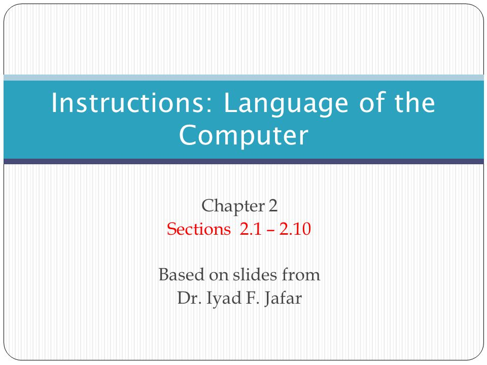 Instructions: Language of the Computer