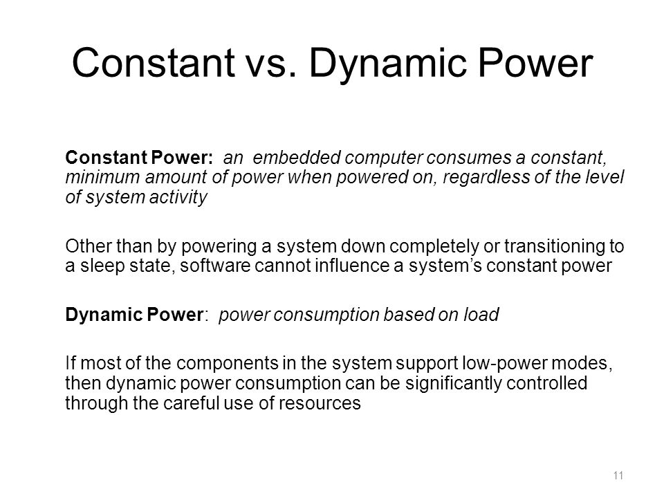 Constant vs. Dynamic Power