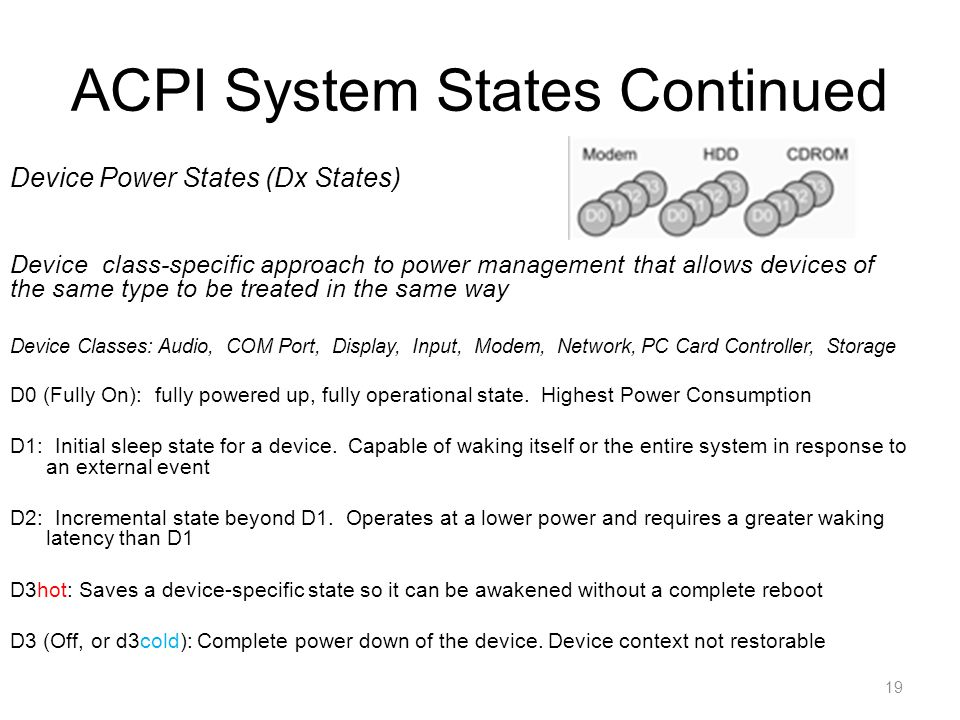 ACPI System States Continued