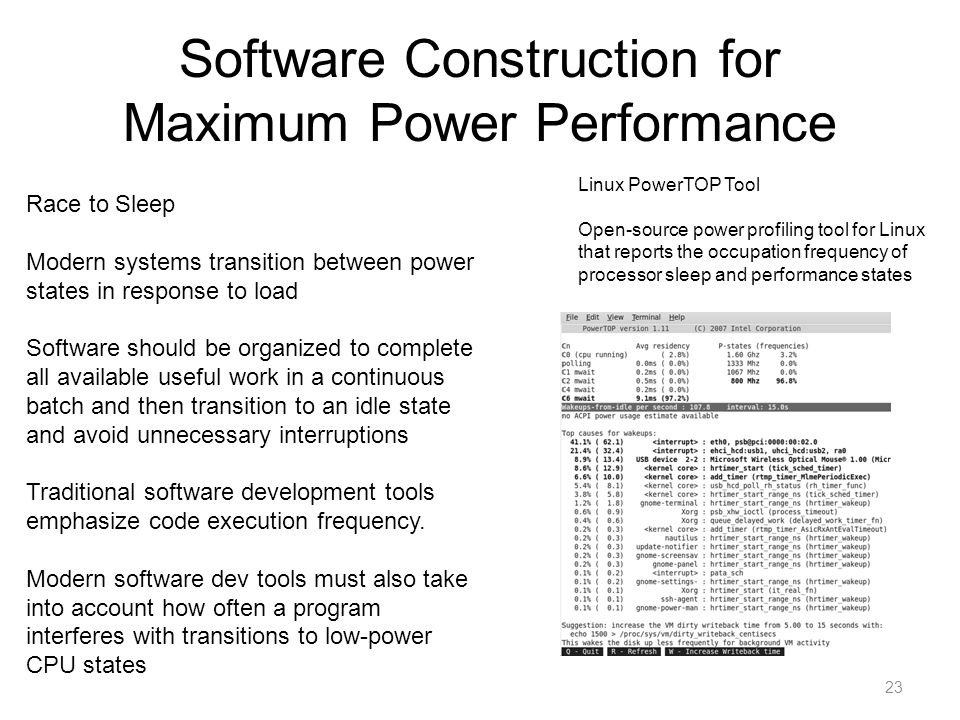 Software Construction for Maximum Power Performance