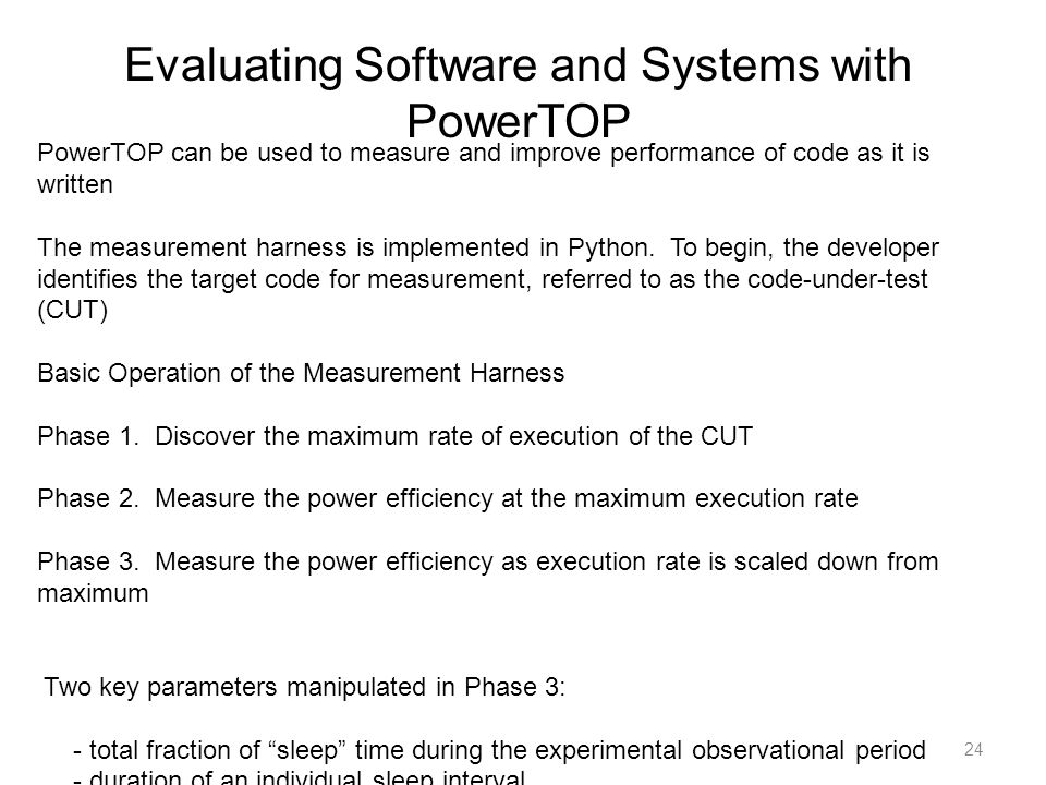 Evaluating Software and Systems with PowerTOP