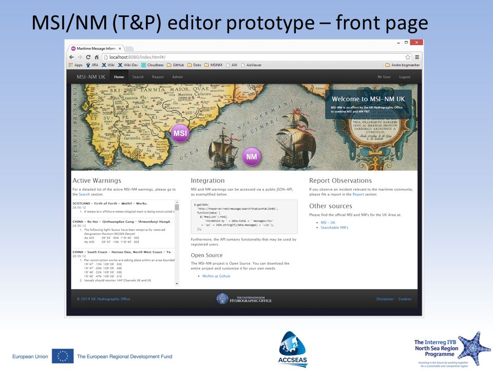 MSI/NM (T&P) editor prototype – front page