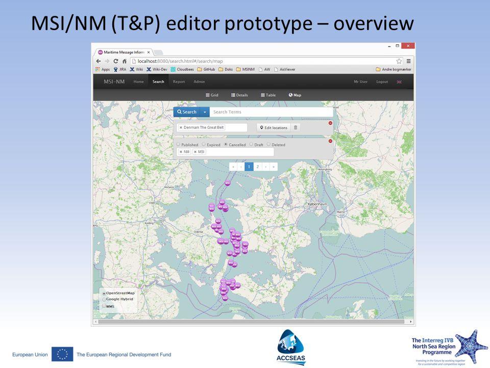 MSI/NM (T&P) editor prototype – overview