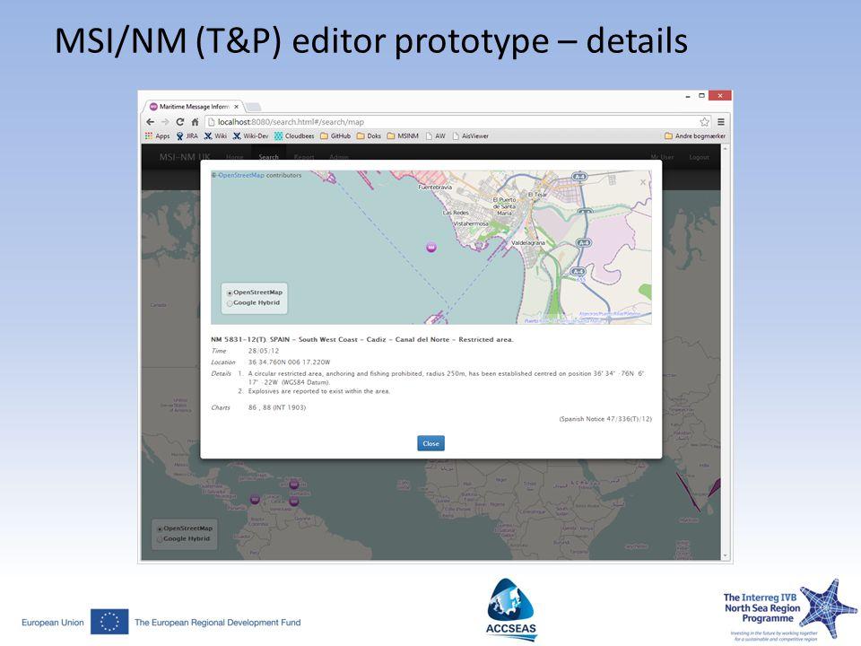 MSI/NM (T&P) editor prototype – details