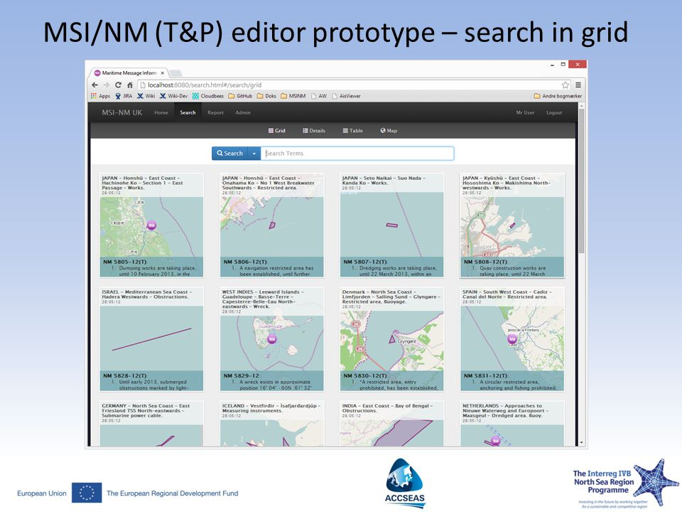 MSI/NM (T&P) editor prototype – search in grid