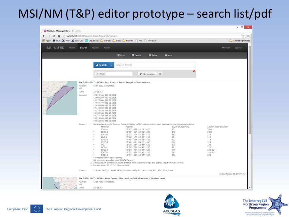 MSI/NM (T&P) editor prototype – search list/pdf