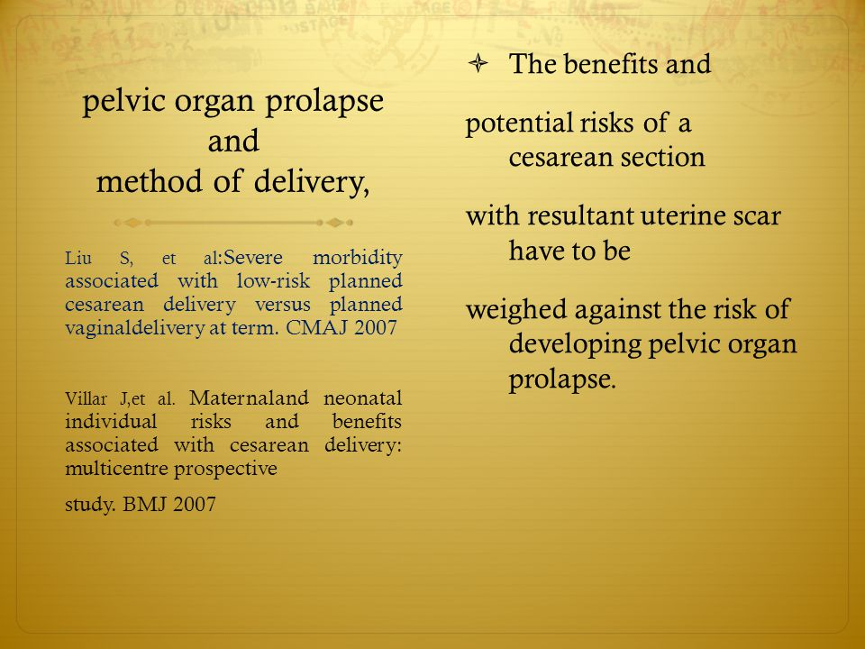 pelvic organ prolapse and method of delivery,