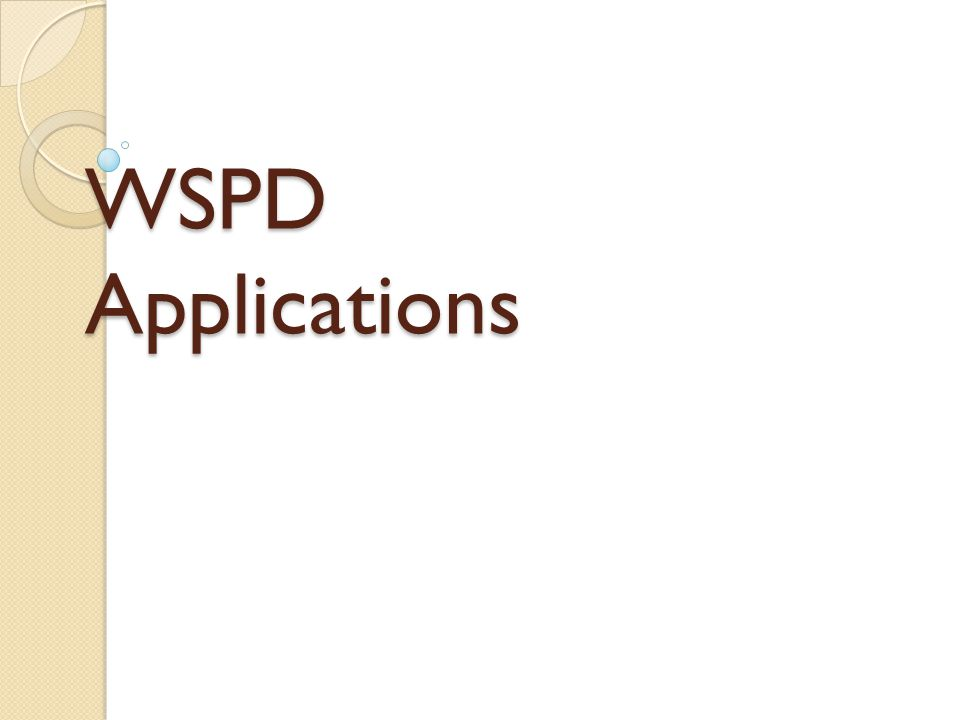 WSPD Applications