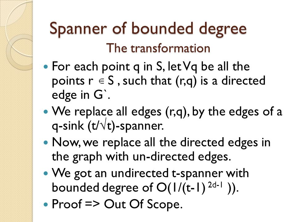 Spanner of bounded degree
