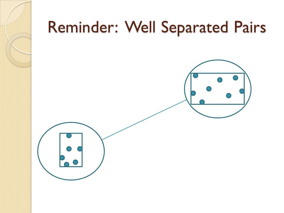 Reminder: Well Separated Pairs