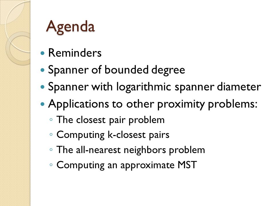 Agenda Reminders Spanner of bounded degree
