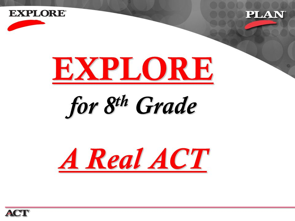 EXPLORE A Real ACT for 8th Grade