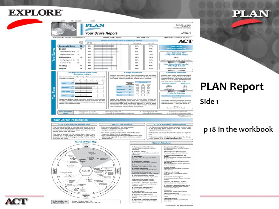 PLAN Report Side 1 p 18 in the workbook