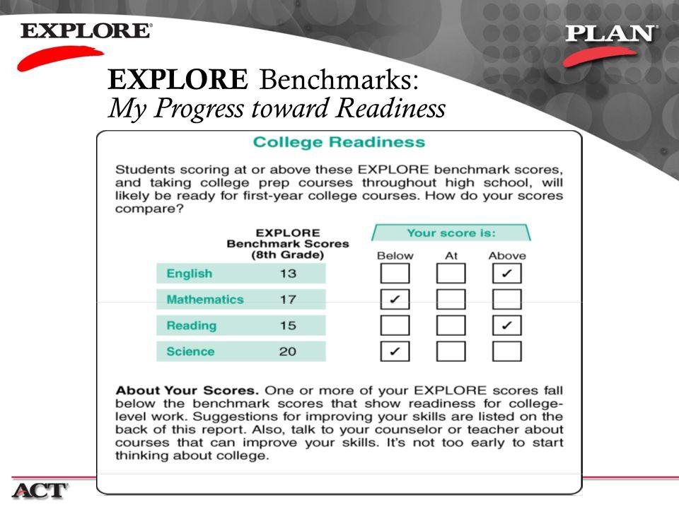EXPLORE Benchmarks: My Progress toward Readiness