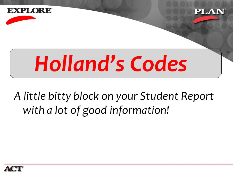Holland's Codes A little bitty block on your Student Report with a lot of good information!