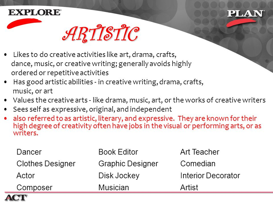 ARTISTIC Likes to do creative activities like art, drama, crafts,