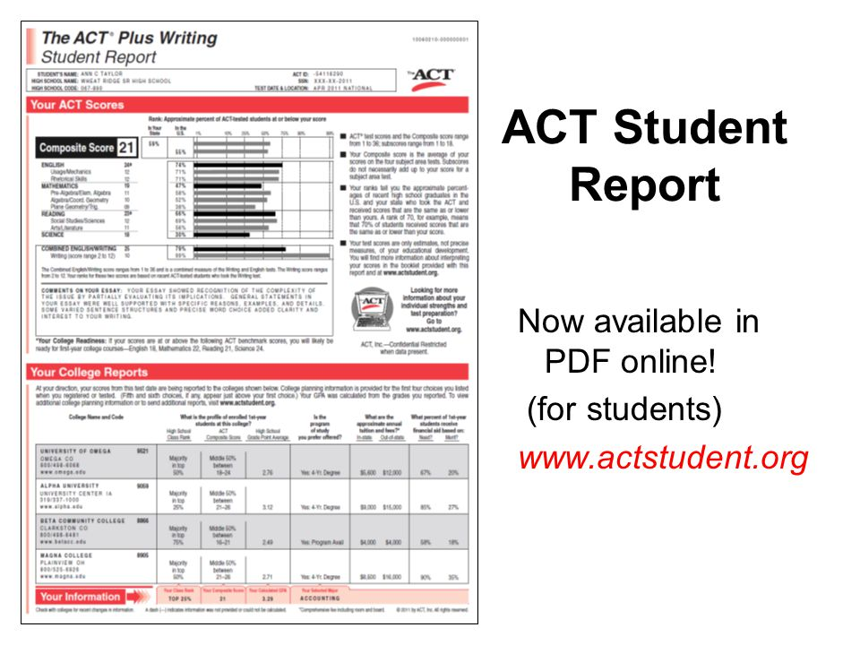 ACT Student Report Now available in PDF online! (for students)