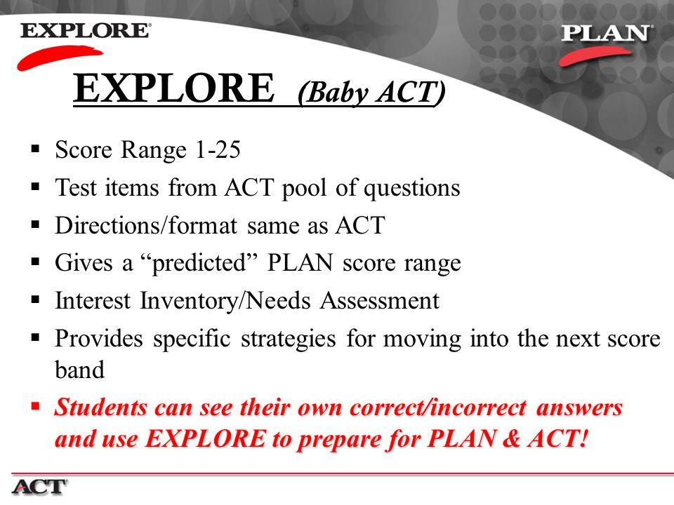 EXPLORE (Baby ACT) Score Range 1-25