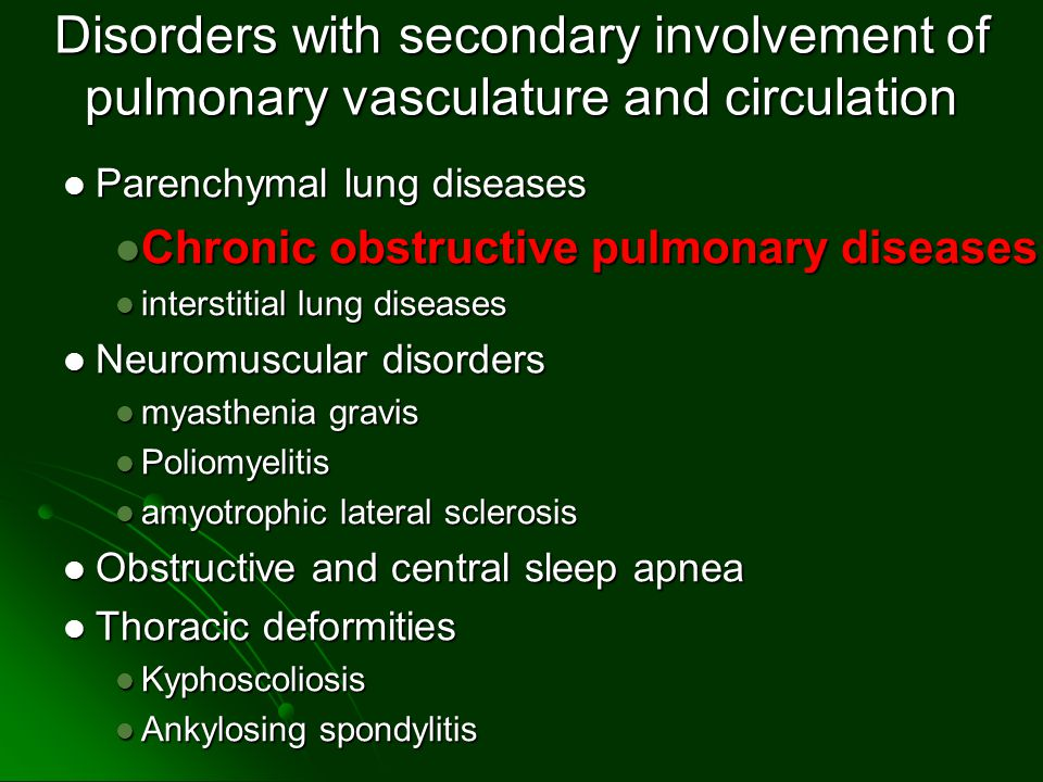 Disorders with secondary involvement of pulmonary vasculature and circulation