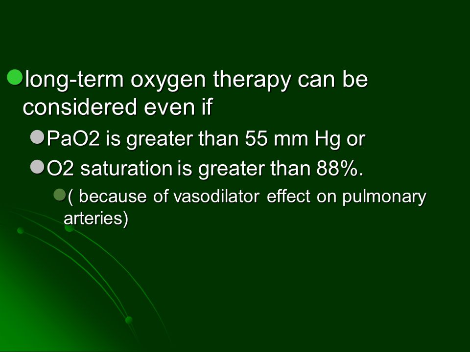 long-term oxygen therapy can be considered even if
