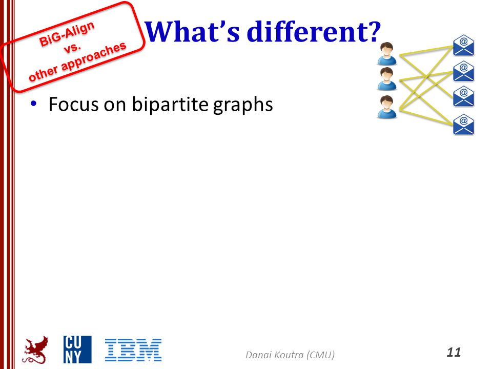 What's different Focus on bipartite graphs BiG-Align other approaches