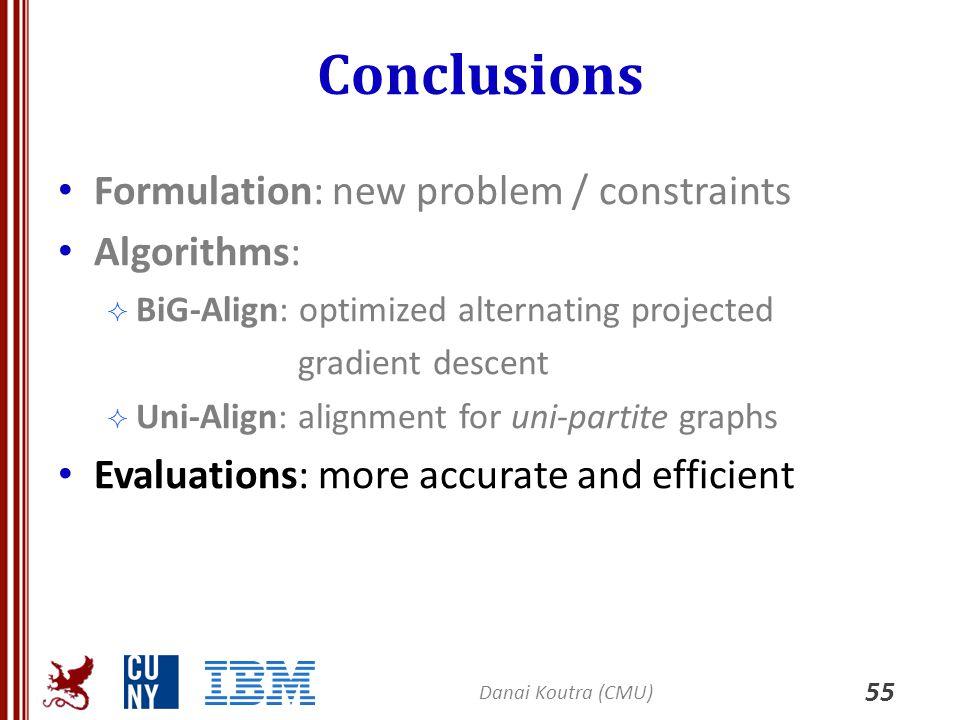 Conclusions Formulation: new problem / constraints Algorithms: