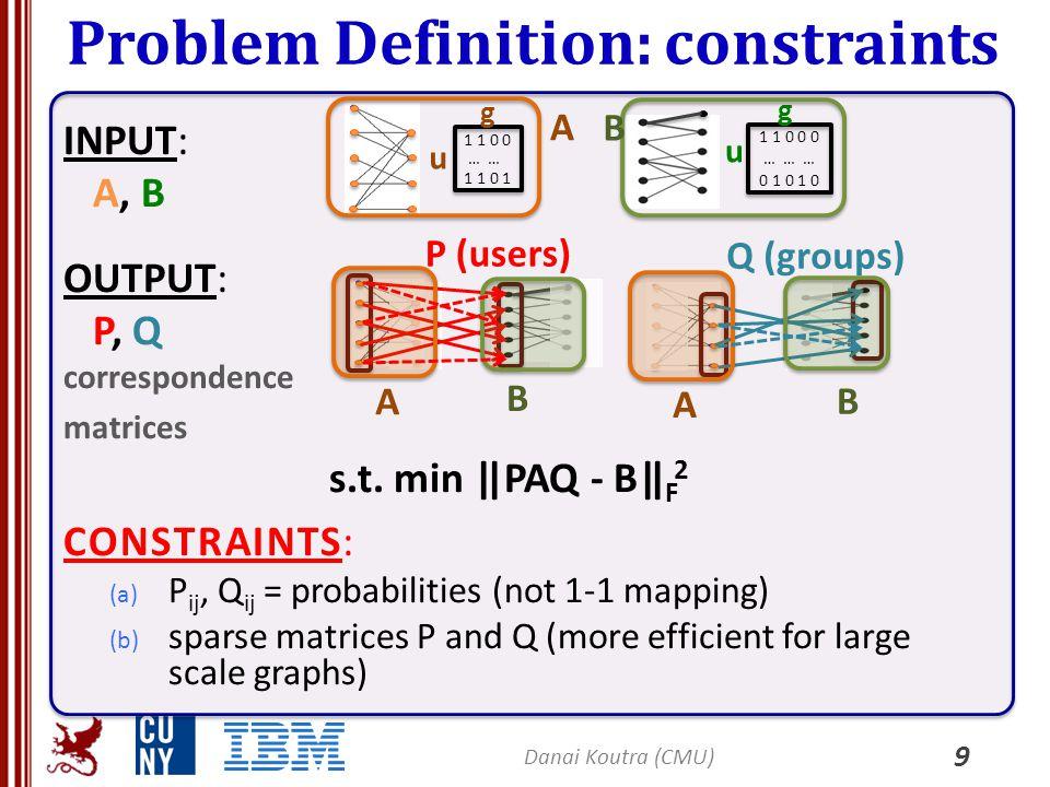 Problem Definition: constraints