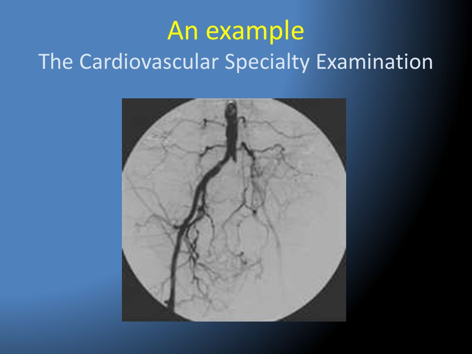 An example The Cardiovascular Specialty Examination