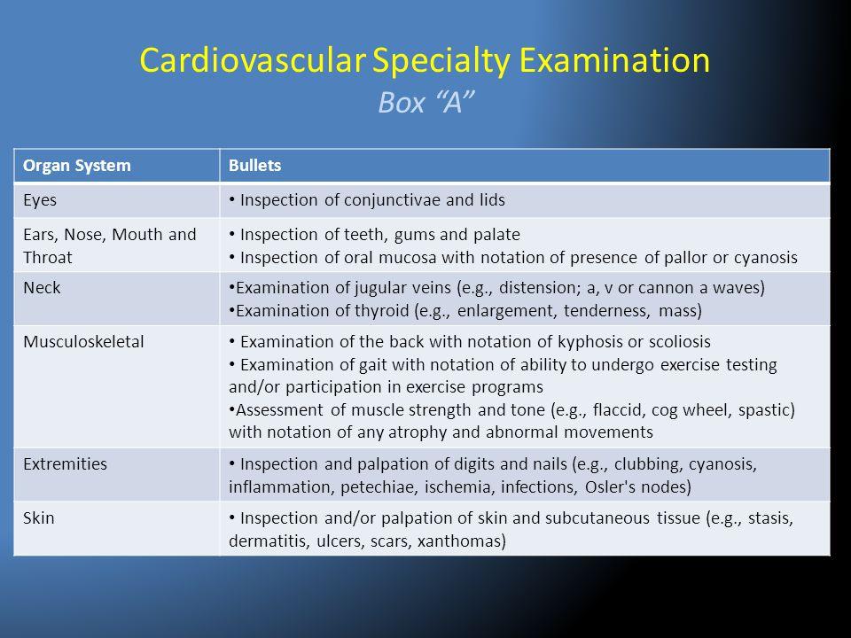 Cardiovascular Specialty Examination Box A