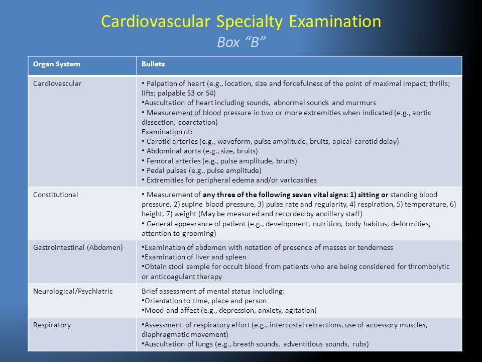Cardiovascular Specialty Examination Box B