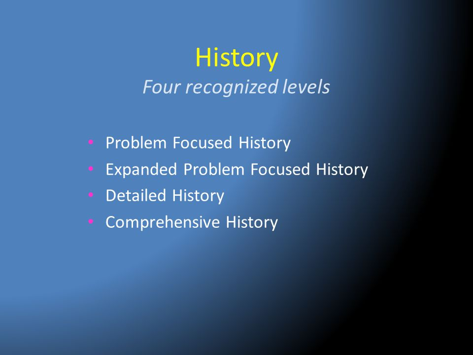 History Four recognized levels