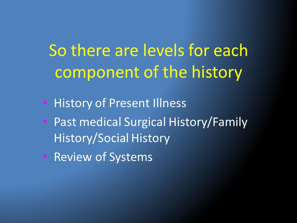 So there are levels for each component of the history