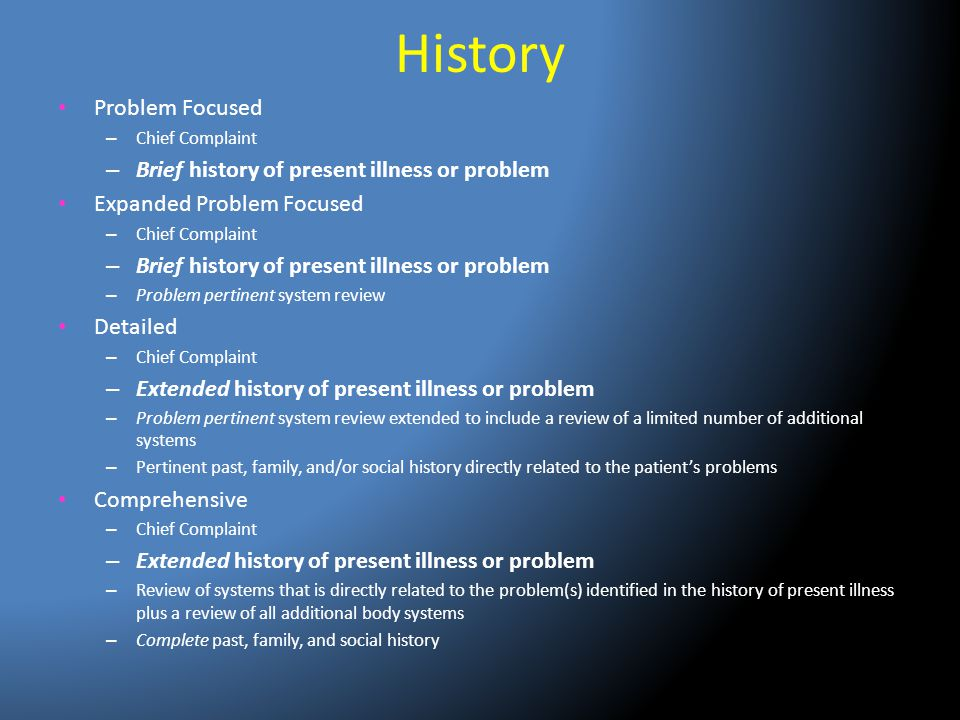 History Problem Focused Brief history of present illness or problem