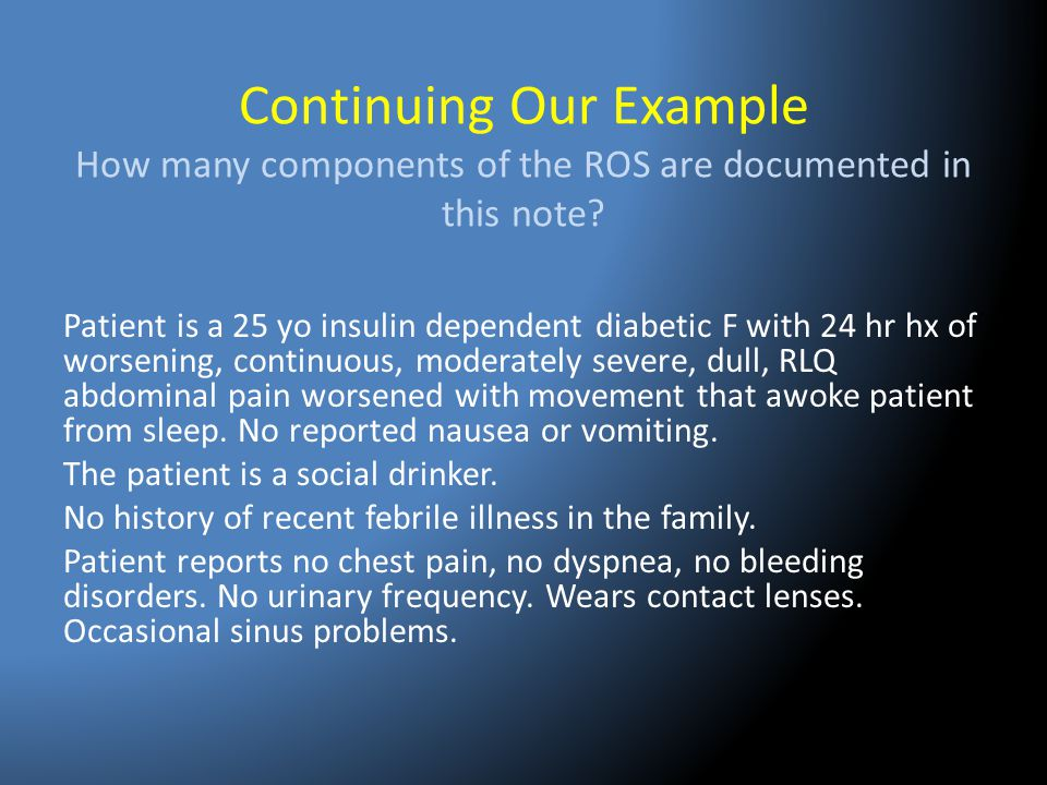 Continuing Our Example How many components of the ROS are documented in this note