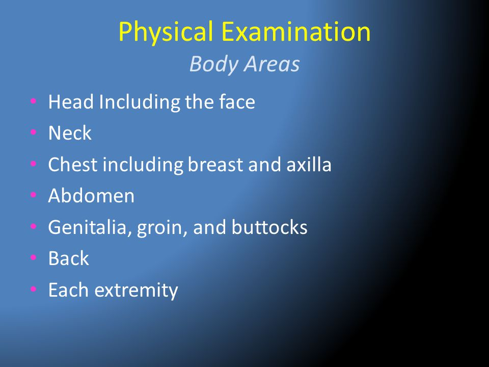 Physical Examination Body Areas