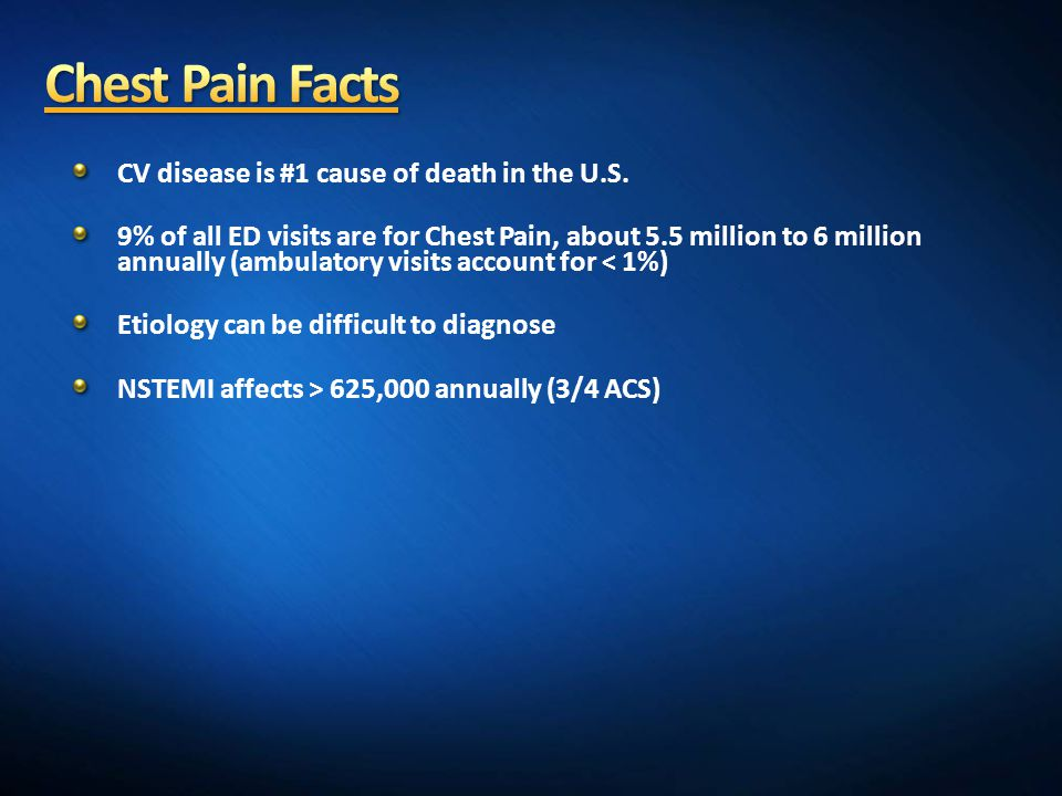 Chest Pain Facts CV disease is #1 cause of death in the U.S.