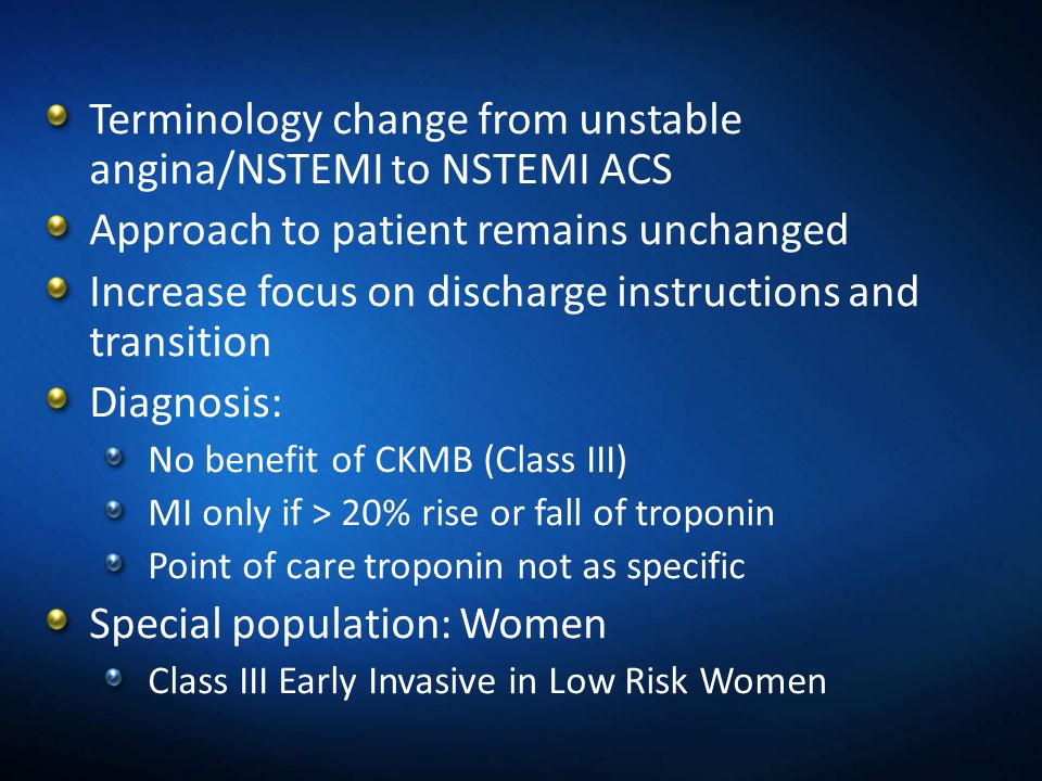 Terminology change from unstable angina/NSTEMI to NSTEMI ACS