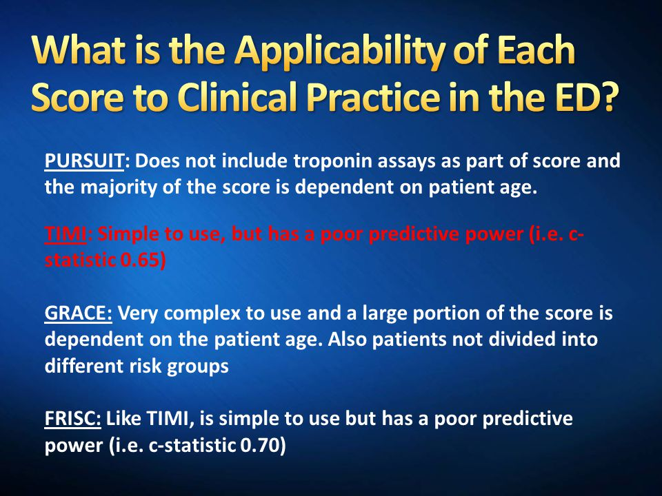 What is the Applicability of Each Score to Clinical Practice in the ED