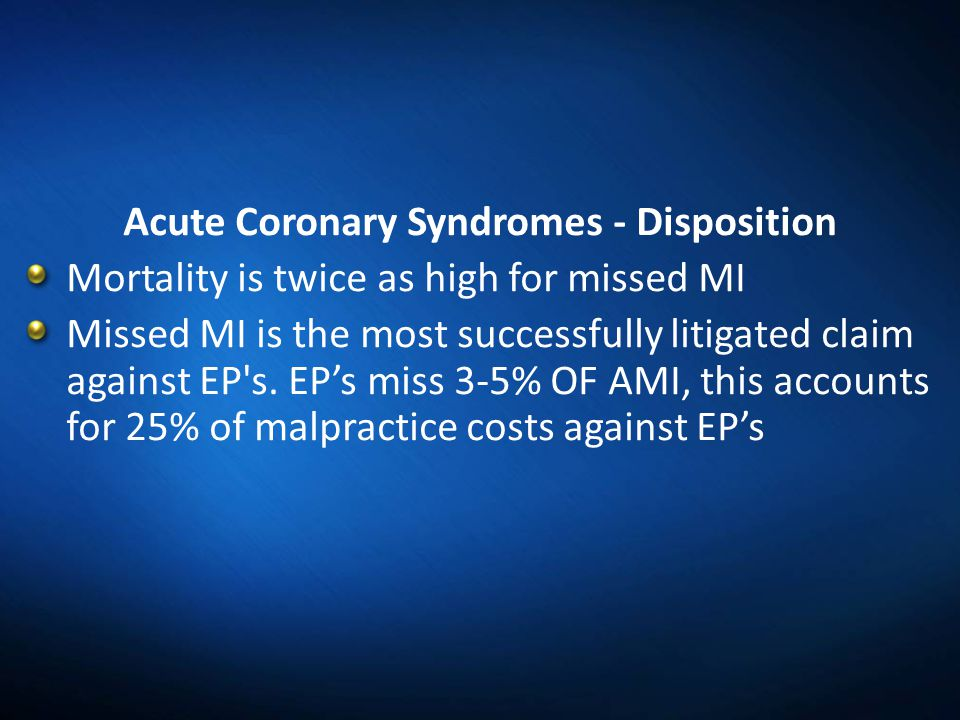Acute Coronary Syndromes - Disposition