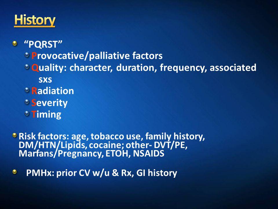History PQRST Provocative/palliative factors